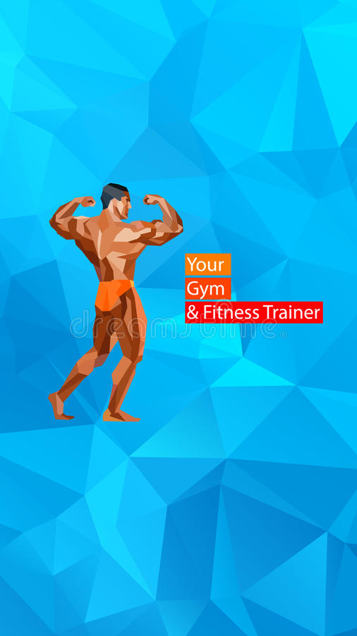 Gekleurde stellende bodybuilder, silhouet Vector vector illustratie