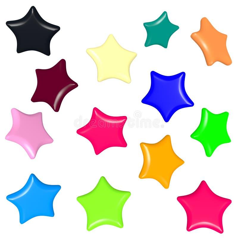 Gekleurde sterrenmodellen voor giftkaarten royalty-vrije stock afbeeldingen