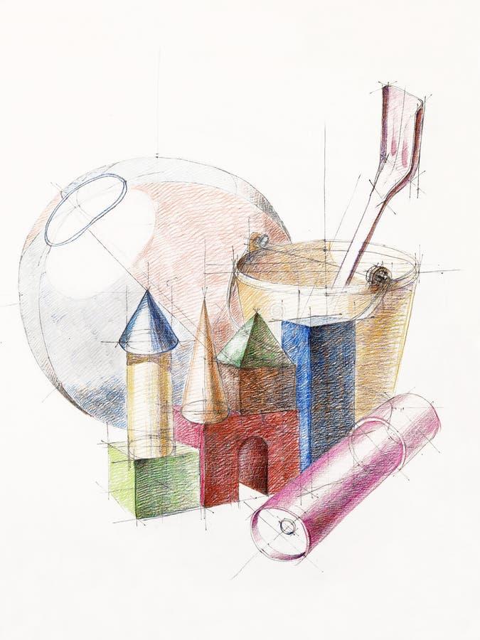 Gekleurde stillevenstudie over objecten samenstelling royalty-vrije illustratie
