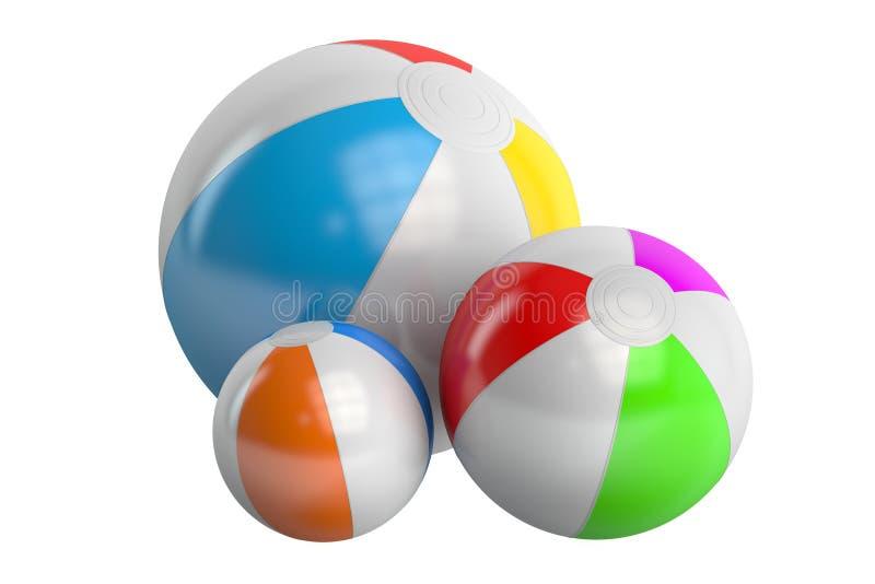 Gekleurde strandballen, het 3D teruggeven vector illustratie
