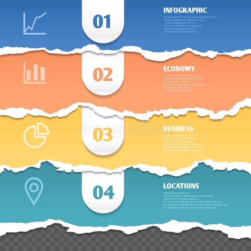 Gekleurde strepen van gescheurd document, vector infographic malplaatje met tekst en pictogrammen royalty-vrije illustratie