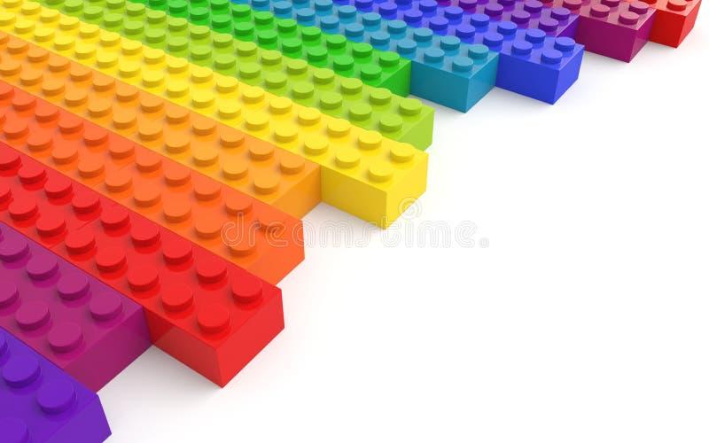 Gekleurde stuk speelgoed bakstenen op witte achtergrond stock illustratie