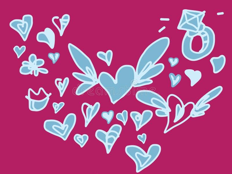 Gekleurde Valentine-liefde en huwelijkshand getrokken die krabbel met vleugels wordt geplaatst vector illustratie