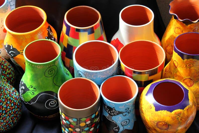 Gekleurde Vazen Royalty-vrije Stock Afbeelding