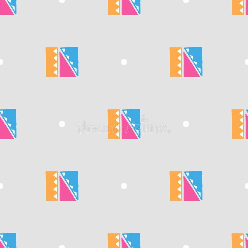 Gekleurde vector Abstracte Etnische naadloze patronen op grijze achtergrond royalty-vrije illustratie
