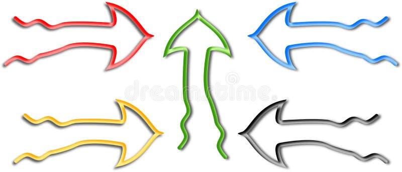 Gekleurde vijf en in de schaduw gestelde krullende pijlen op wit stock illustratie