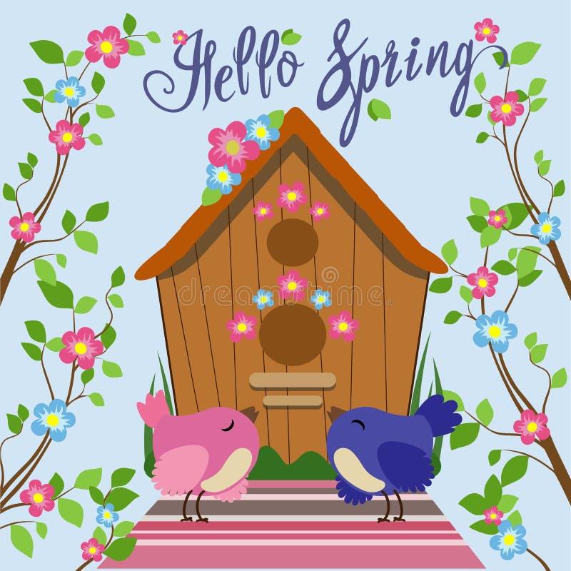 Gekleurde vogel dichtbij vogelhuis in vlakke stijl Vector illustratie vector illustratie