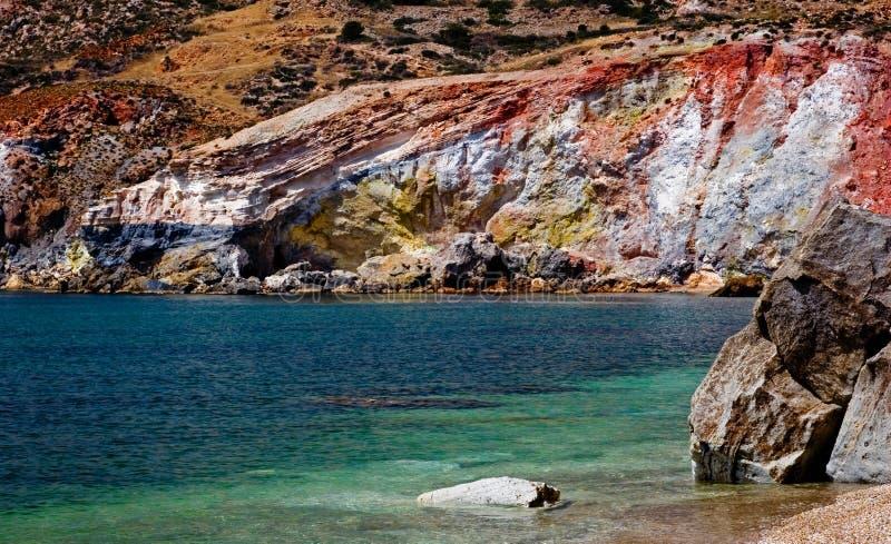 Gekleurde vulkanische rotsen stock afbeelding
