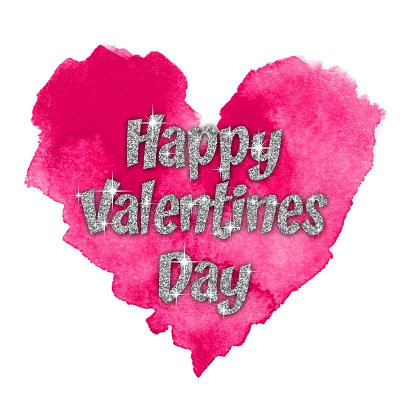 Gekleurde waterverfachtergrond Gelukkige valentijnskaartendag royalty-vrije illustratie