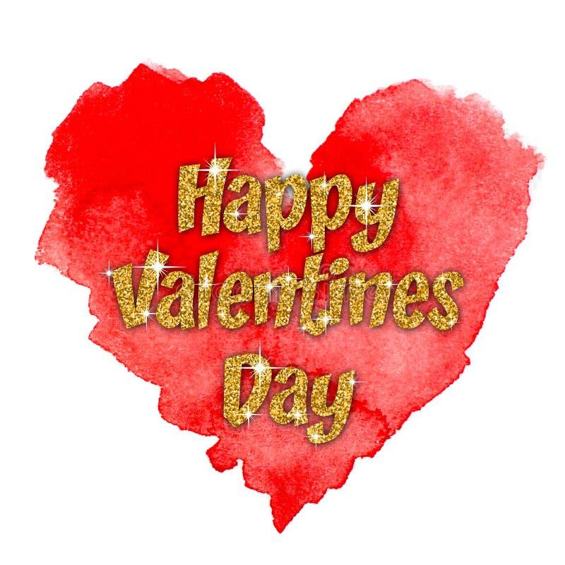 Gekleurde waterverfachtergrond Gelukkige valentijnskaartendag stock illustratie