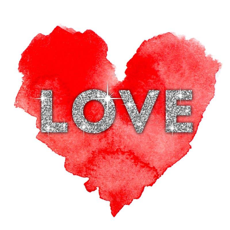 Gekleurde waterverfachtergrond Liefde vector illustratie