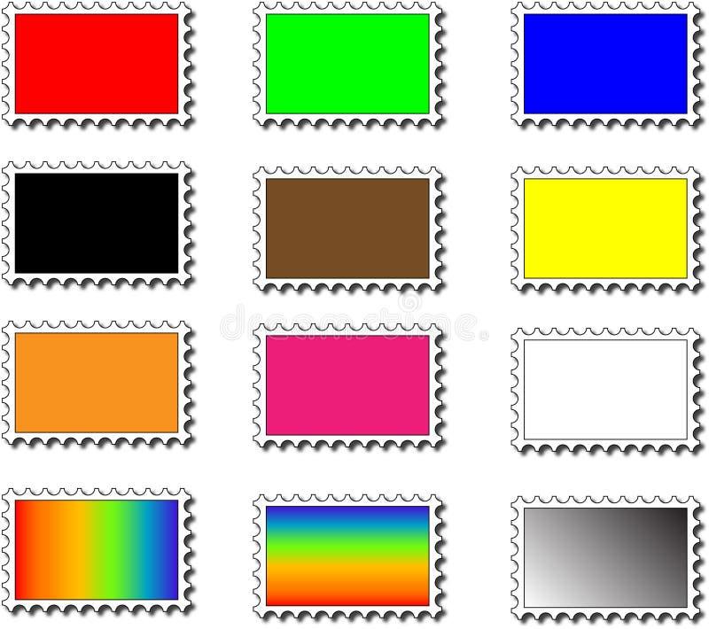 Gekleurde zegels royalty-vrije illustratie