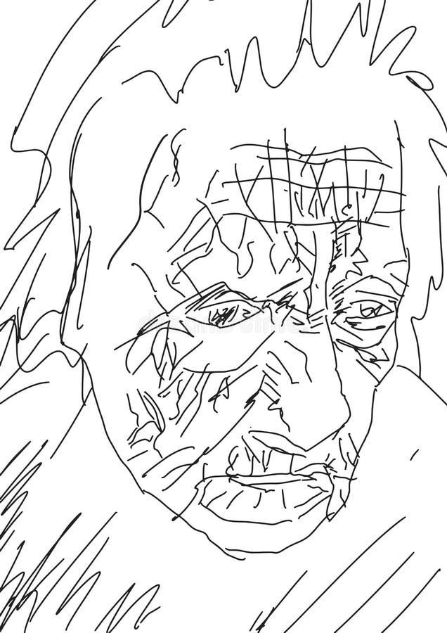 Geknitterter Gesichtsabschluß der alten Frau oben vektor abbildung