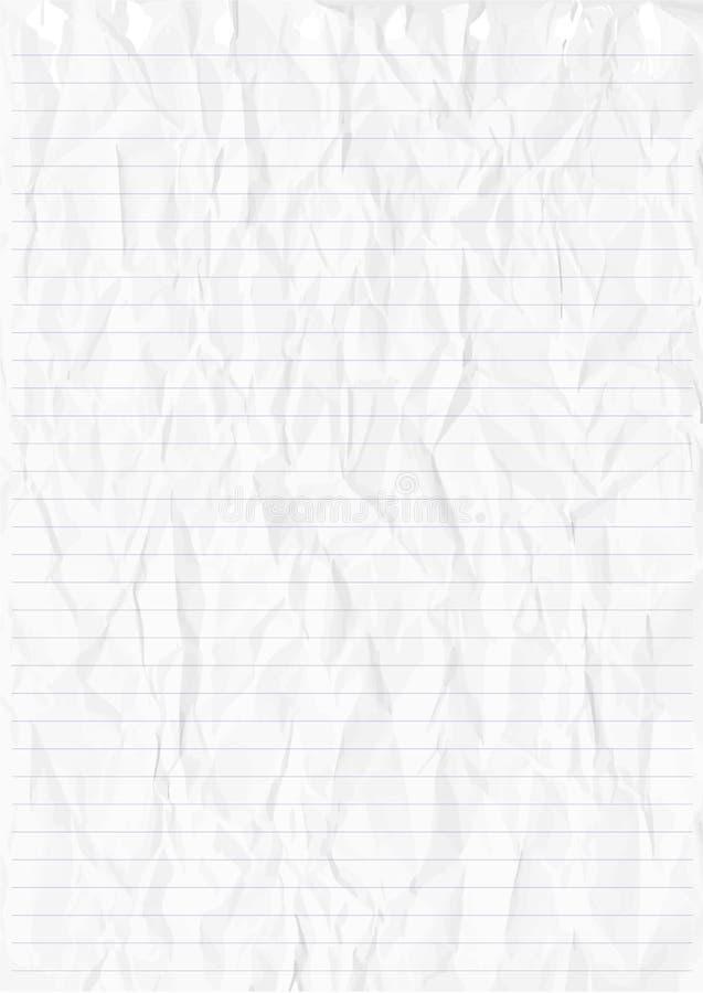 Geknittertes Weißes Blatt Der Linie Papier Vektor Abbildung ...