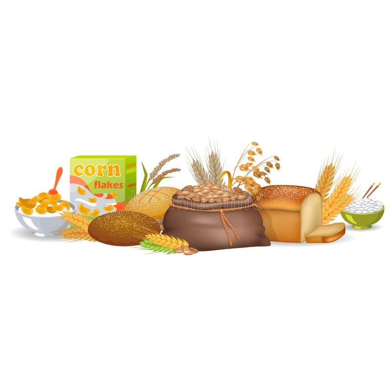Gekochte Getreide, gebackenes Brot und organische Spitzen lizenzfreie abbildung