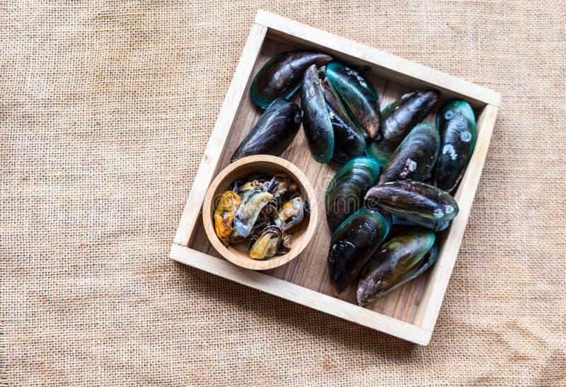 Gekochte grüne Miesmuschel diente auf hölzernem Behälter im Meeresfrüchterestaurant lizenzfreies stockfoto