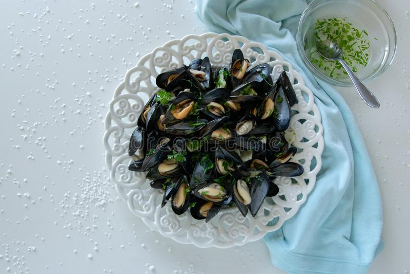 Gekochte köstliche schwarze Miesmuschel, salziger weißer Hintergrund Konzept der gesunden Ernährung, Proteinnahrung lizenzfreie stockfotos