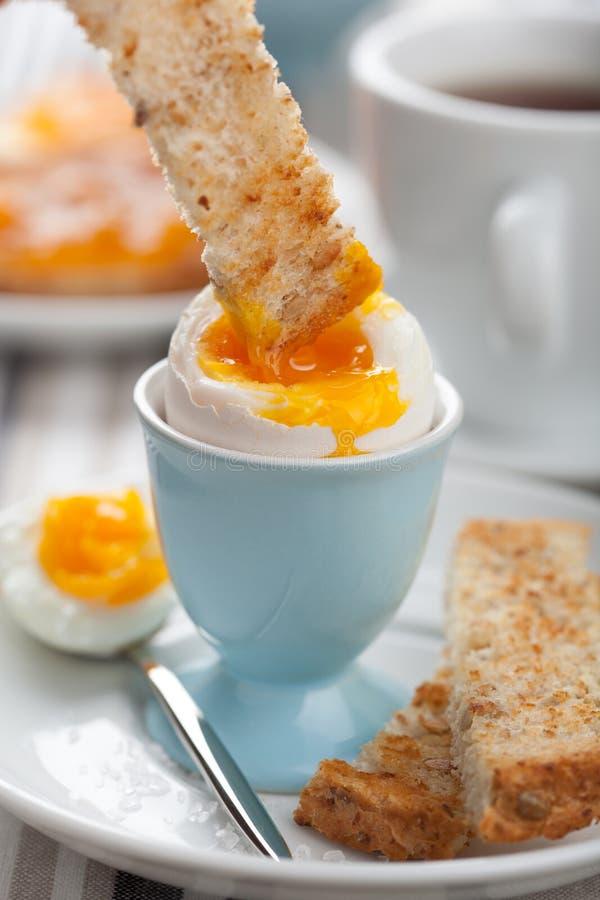 Gekochtes Ei zum Frühstück lizenzfreies stockbild
