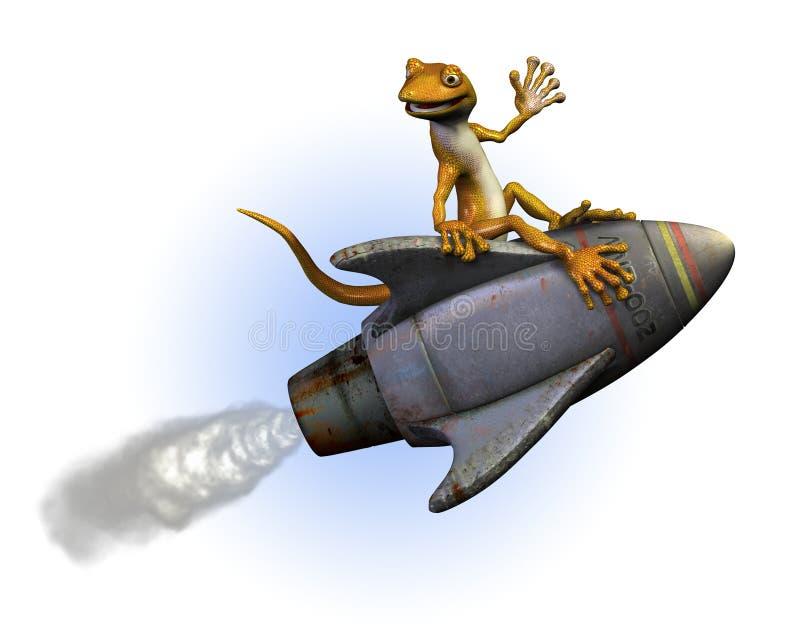 gekon jazdy rakieta royalty ilustracja