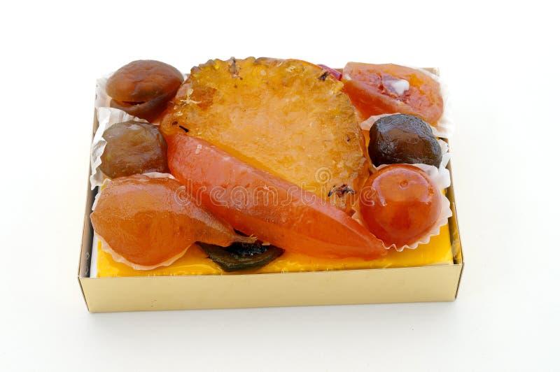 Gekonfijte vruchten in doos royalty-vrije stock foto's