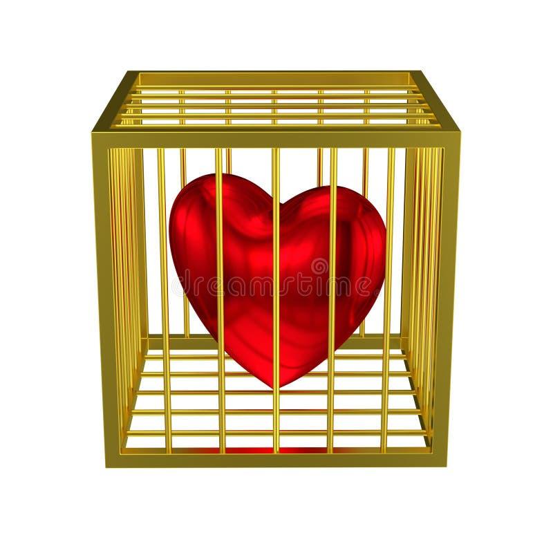 Gekooide hart gouden kooi stock illustratie