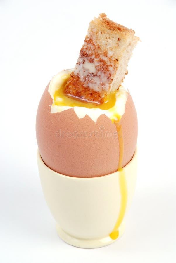 Gekookt ei en geroosterde vinger royalty-vrije stock afbeelding