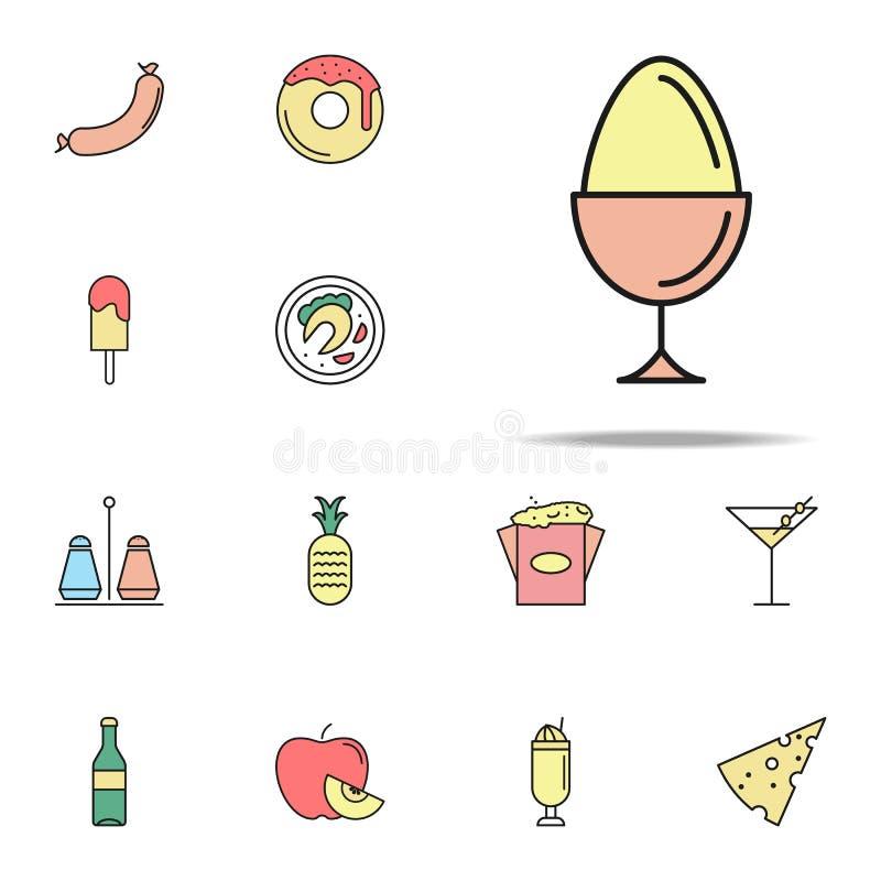 gekookt ei gekleurd pictogram Voor Web wordt geplaatst dat en het mobiele algemene begrip van voedselpictogrammen stock illustratie