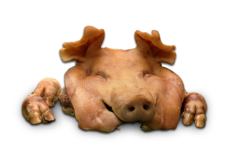 Gekookt varkenshoofd voor offer en gelofte stock fotografie