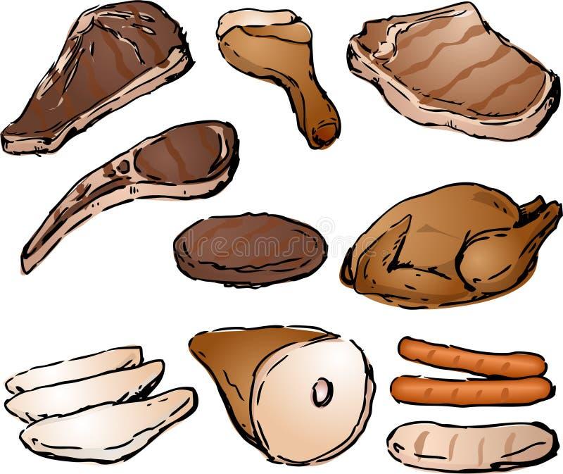 Gekookt vlees stock illustratie