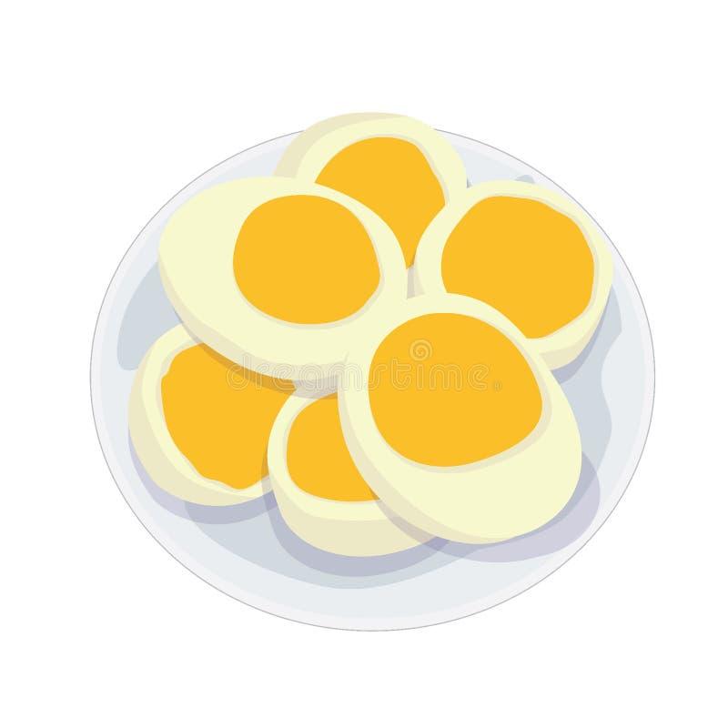Gekookte eieren in een plaat stock illustratie