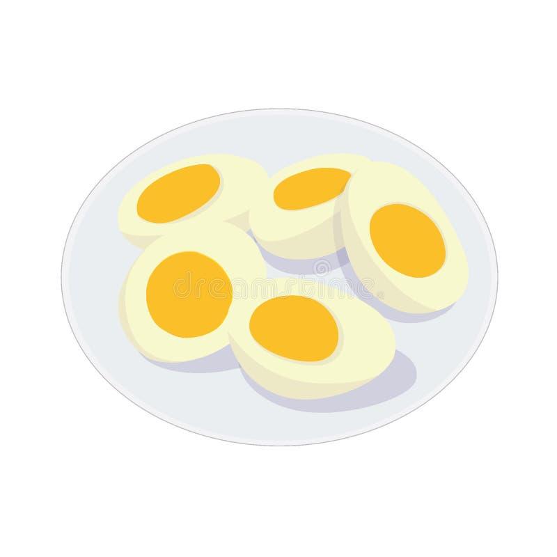 Gekookte Eieren in een Plaat op Witte Achtergrond royalty-vrije illustratie