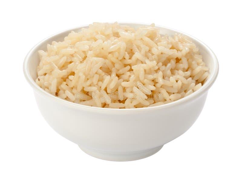 Gekookte Rijst in een Witte Kom stock afbeelding