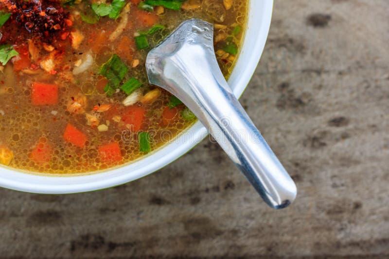 Gekookte rijstvarkensvlees of maïsmeelpap, ontbijt voor Thaise stijl stock afbeeldingen