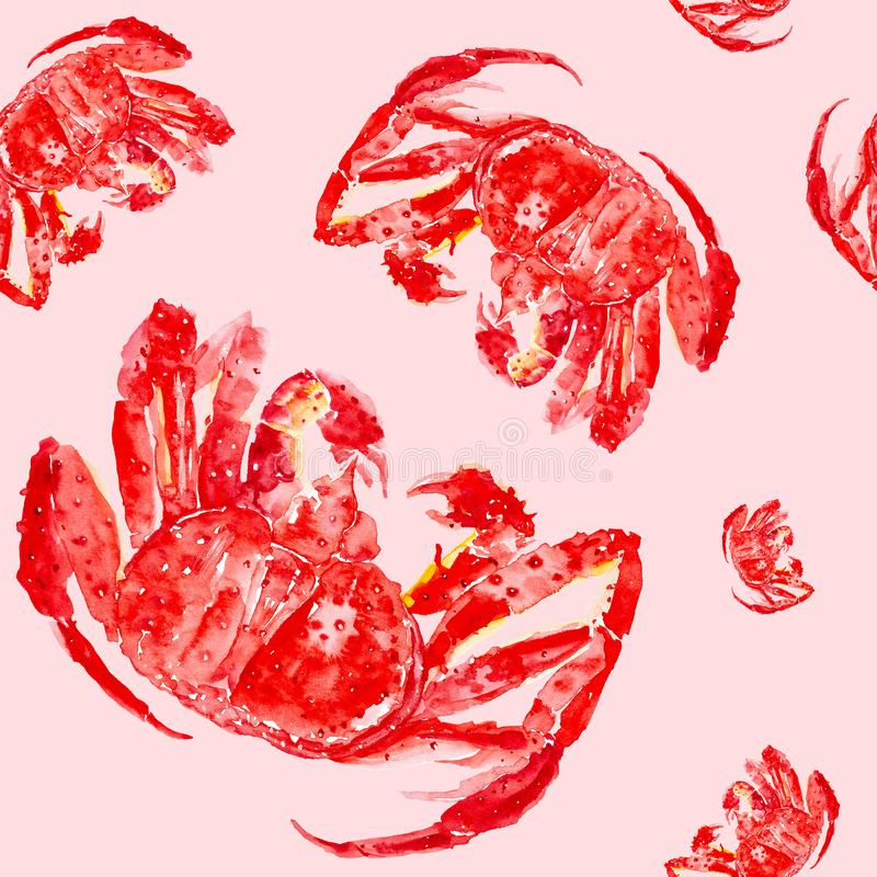 Gekookte rode koningskrab Waterverfillustratie die op rode achtergrond wordt ge?soleerd Naadloos patroon stock afbeeldingen
