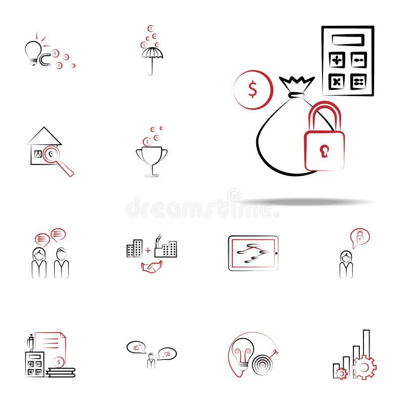 Gekostete Berechnungsikone Geschäfts- und Managementikonenuniversalsatz für Netz und Mobile vektor abbildung