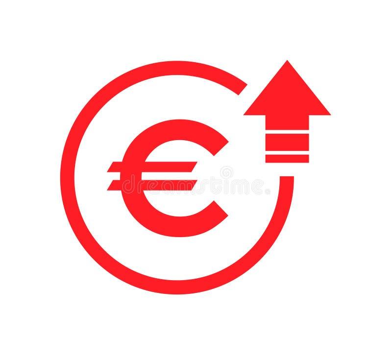 Gekostetes Symbol Eurozunahmeikone Vektorsymbolbild lokalisiert auf Hintergrund vektor abbildung