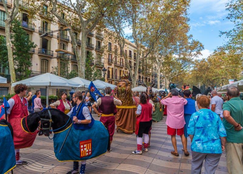 Gekostumeerde Karakters in Barcelona royalty-vrije stock foto