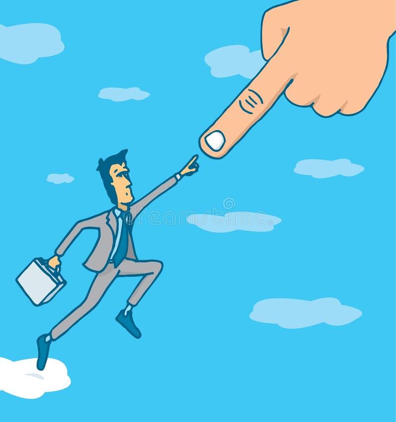 Gekozen succesvolle zakenman die een hogere macht contacteren stock illustratie