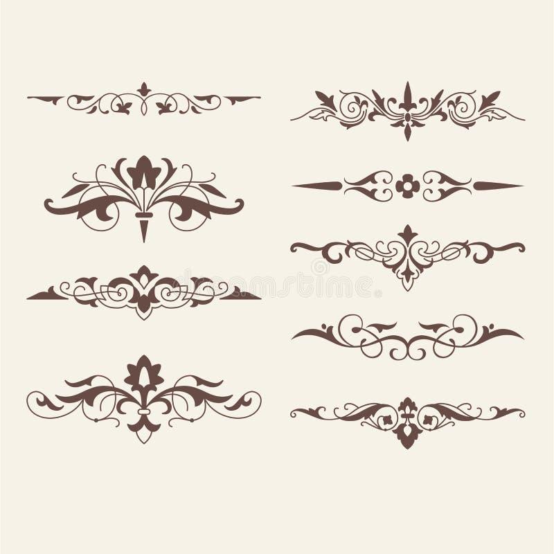 Gekräuselte kalligraphische Gestaltungselemente für Logo lizenzfreie abbildung