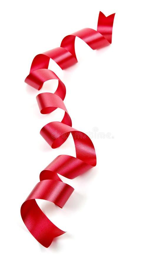 Gekräuseltes rotes Feiertagsfarbband stockfoto