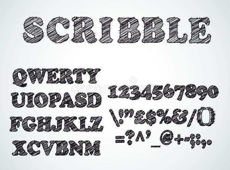Gekrabbel gegrenst alfabet met het effect van de penschets vector illustratie