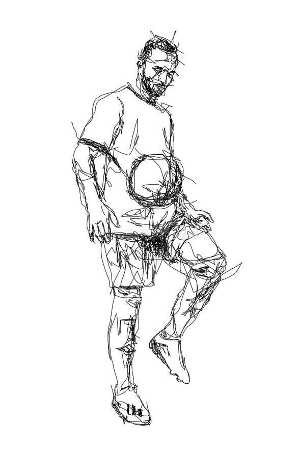 Gekrabbelkunst van voetbal stock illustratie