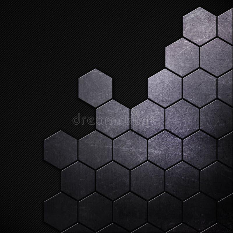 Gekraste grunge metaalachtergrond met hexagonale vormen stock illustratie