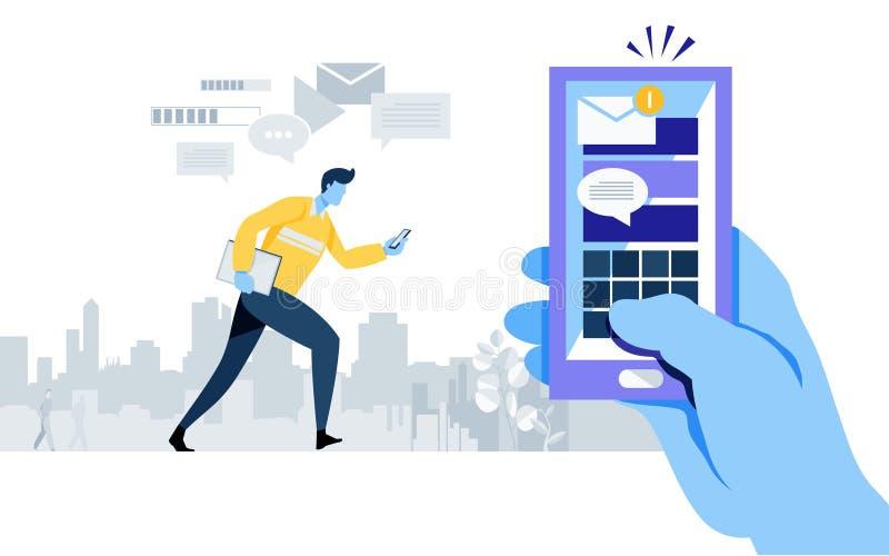 Gekregen nieuw e - post berichtalarm Smartphone-toepassing Online verbinding Verzend Bericht Sociale Media arbeider, zakenman stock illustratie