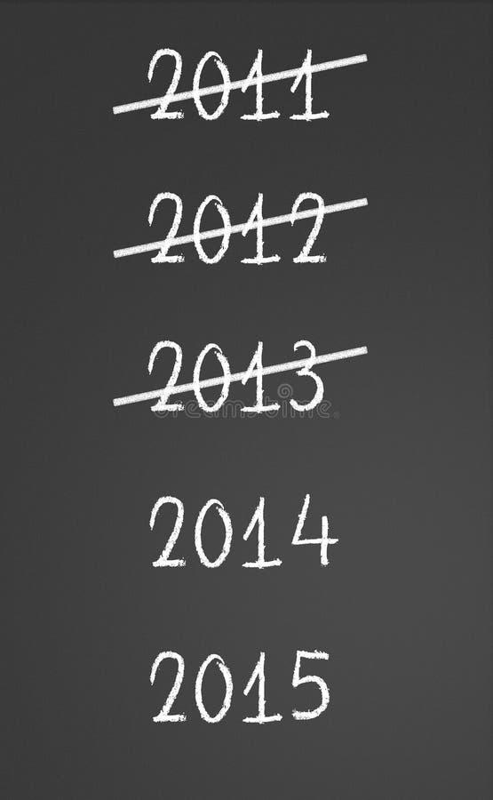 2011, 2012, 2013 gekreuzt und neue Jahre 2014, 2015 vektor abbildung