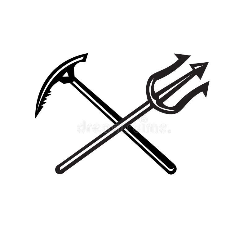 Gekreuzte Gebirgseis-Axt und Trident-Ikone stock abbildung