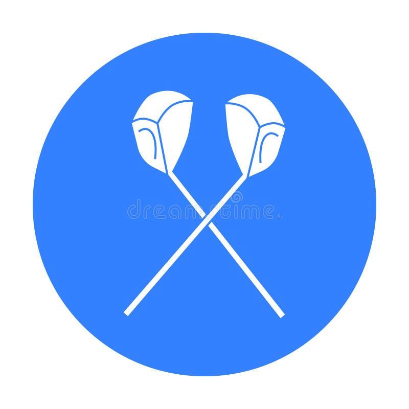 Gekreuzte Golfclubikone in der schwarzen Art lokalisiert auf weißem Hintergrund Golfclubsymbolvorrat-Vektorillustration lizenzfreie abbildung