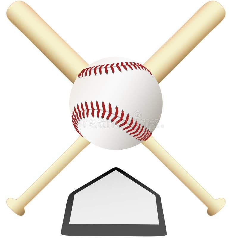 Gekreuzte Hiebe des Baseballs Emblem über Hauptplatte lizenzfreie abbildung