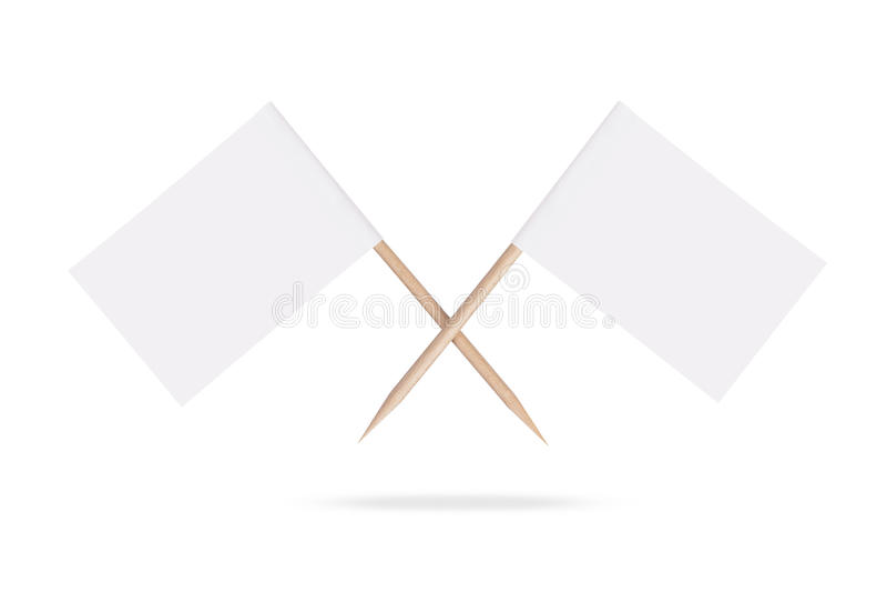 Gekreuzte leere weiße Flaggen Getrennt lizenzfreies stockbild