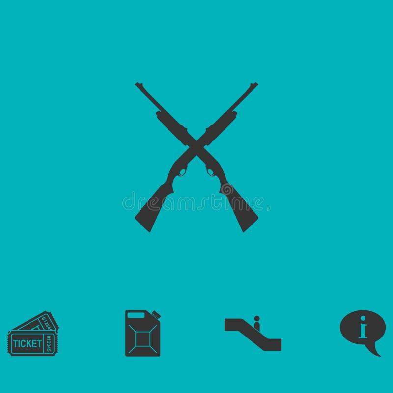 Gekreuzte Schrotflinten, Gewehrikone flach jagend stock abbildung